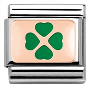 Nomination Rose Gold Green Four leaf Clover Charm