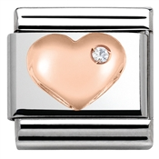 Rose Gold Raised Heart Charm by Nomination