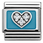 Nomination Blue Crystal Heart Charm