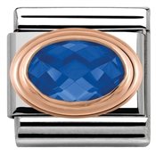 Nomination Rose Gold Faceted Blue Charm