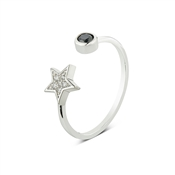 Dirty Ruby Silver Star Ring