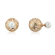 August Woods Outlet  Front & Back Earrings Rose Gold & Pearl