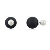 August Woods Outlet  Black & White Faux Pearl Front & Back Earrings