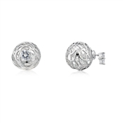 August Woods Outlet  Front & Back Earrings Silver & Crystal