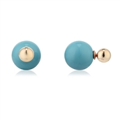 August Woods Outlet  Front & Back Earrings Turquoise & Rose Gold