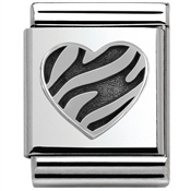 Nomination Big Striped Heart Charm