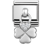 Nomination Silver Hanging Four Leaf Clover Charm