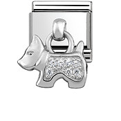 Silver Hanging Dog Charm by Nomination