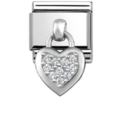 Silver Hanging Heart Charm by Nomination