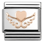 Rose Gold Heart On Wings Charm by Nomination