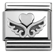 Silver Heart On Wings Charm by Nomination