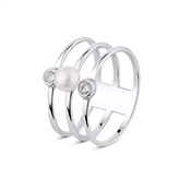 Argento Outlet Three Band Pearl and CZ Ring