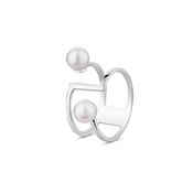 Argento Outlet Bar Ring with 2 Pearls