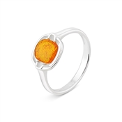 Argento Outlet Amber Curved Square Ring