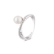 Argento Outlet Double Band Twist Pearl Ring