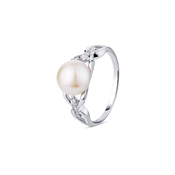 Argento Outlet Link CZ Single Pearl Ring