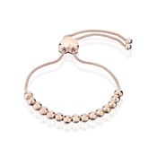Argento Rose Gold Beaded Heart Pull Friendship Bracelet
