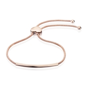 Argento Outlet Rose Gold Rounded Bar Heart Pull Friendship Bracelet