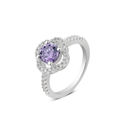 Argento Outlet Galaxy Amethyst Flower Ring