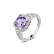 Argento Outlet Galaxy Square Amethyst Ring