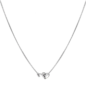 Argento Clear Swarovski Crystal 2 Hearts Necklace