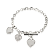August Woods Outlet  Silver Three Heart Bracelet