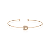 Dirty Ruby Rose Gold Crystal Letter D Bangle