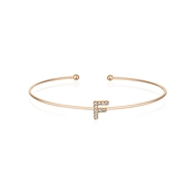 Dirty Ruby Rose Gold Crystal Letter F Bangle