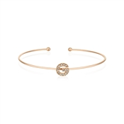 Dirty Ruby Rose Gold Crystal Letter G Bangle