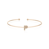 Dirty Ruby Rose Gold Crystal Letter P Bangle