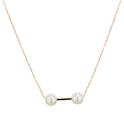 Dirty Ruby Outlet Rose Gold Double Pearl Necklace