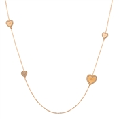 August Woods Outlet  Long Rose Gold Hearts Necklace