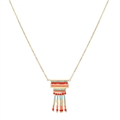 Dirty Ruby Outlet Gold & Red Beaded Necklace