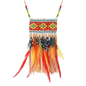 Dirty Ruby Outlet Beaded Feather Statement Necklace