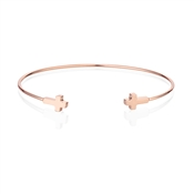 Dirty Ruby Rose Gold Double Cross Bangle