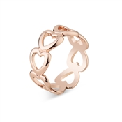 Dirty Ruby Rose Gold Open Hearts Ring