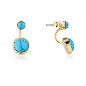 Dirty Ruby Gold Turquoise Round Ear Jackets