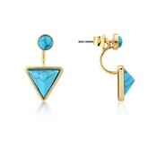 Dirty Ruby Gold Turquoise Triangle Ear Jackets