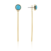 Dirty Ruby Turquoise Gold Bar Earrings