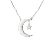 Argento Moon and Star Necklace