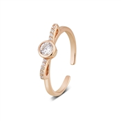 Argento Outlet Rose Gold Open Bow Crystal Ring