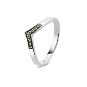 Argento Outlet V Shape Marcasite Ring