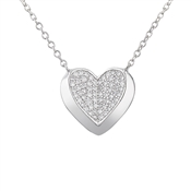 Argento Silver Crystal Heart Necklace