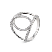 Argento Outlet Crystal Pave Interlink Ring