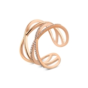 Argento Outlet Rose Gold Criss Cross Crystal Ring