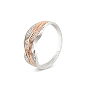 Argento Outlet Rose Gold Mix Pave Waves CZ Ring