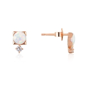 Argento Rose Gold Opal Crystal Stud Earrings