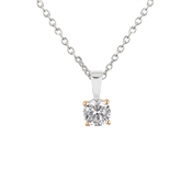 Argento Solitaire Rose Gold Mix Crystal Necklace