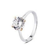 Argento Outlet Solitaire Rose Gold Mix Single CZ Ring