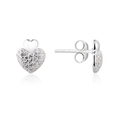 Argento Cushion Heart Pave Earrings